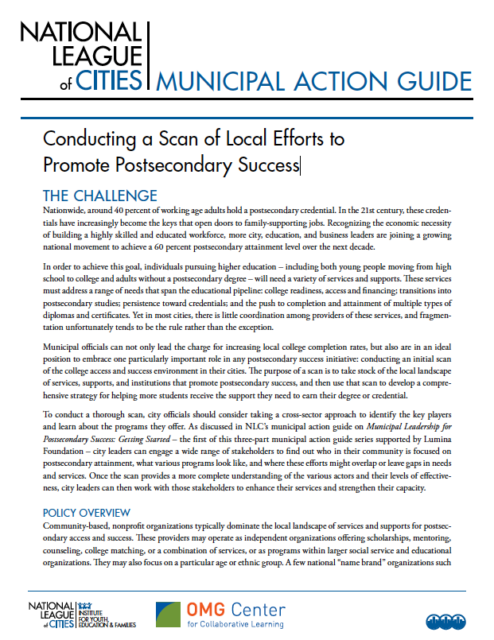 report cover - Conducting a Scan of Local Efforts to Promote Postsecondary Success