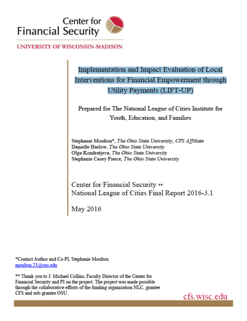 report cover - Implementation and Impact Evaluation of Local Interventions for Financial Empowerment through Utility Payments (LIFT-UP)