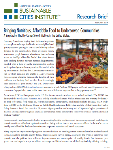 Cover - Research Brief Healthy Corner Stores