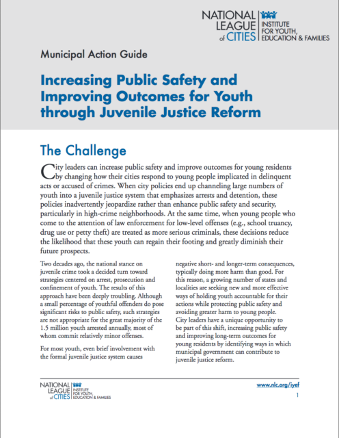 report - Increasing Public Safety and Improving Outcomes for Youth Through Juvenile Justice Reform