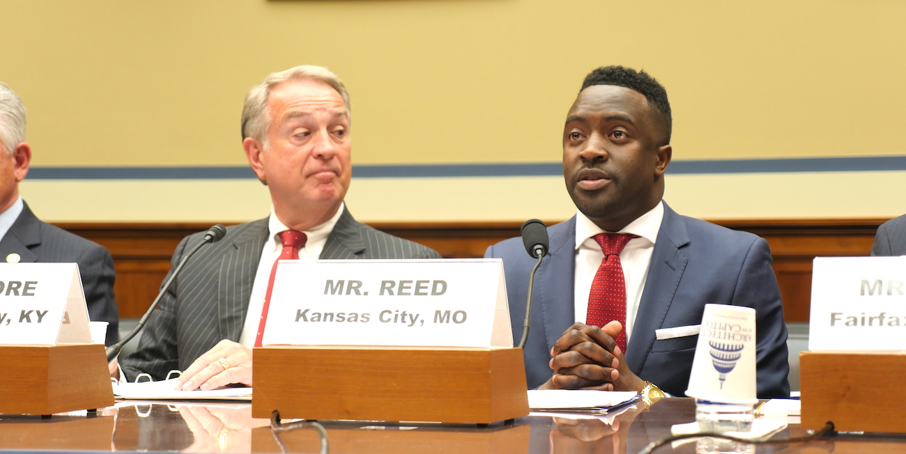Councilmember Jermaine Reed (R), Kansas City, Missouri, and Judge/Executive Gary Moore (L), Boone County, Kentucky, testify before the House Committee on Oversight and Government Reform Subcommittee on Intergovernmental Affairs. PHOTO CREDIT: SAM WARLICK/NLC.